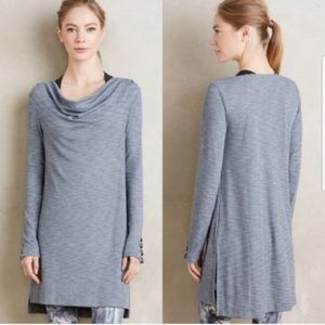 Pure + Good Blue/Grey Heathered Cowlneck Tunic